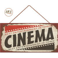 """Retro CINEMA Sign, Rustic Decor, Movie Theater Decor, Weatherproof, 5"""" x 10"""" Sign, Wall Plaque, Entertainment, Movie Night, Made To Order"""