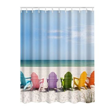 Ocean Decor Collection Seascape Sea Beach Picture Print Bathroom Set Fabric Shower Curtain with Hooks