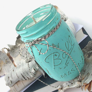 Coconut Lime scented Soy Candle - Hand Painted - Soy Wax Candle -- 16 ounce Jar