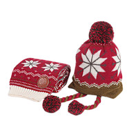 Infant Baby Winter Warm Knitting Baby Beanie Hat And Scarf Red