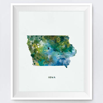 Iowa, Watercolor Iowa Map, Iowa Print, Wall Art, Des Moines, Poster, USA, Travel Map, State Map, Home Decor, Gift, Printable, Download