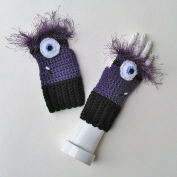 Despicable Me Evil Minion Wristwarmers, Fingerless Mitts, Crocheted Texting Gloves, Fun Halloween Accessory, Ready to Ship