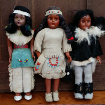 Vintage Native American Indian Souvenir Dolls Set of 3 One With Papoose