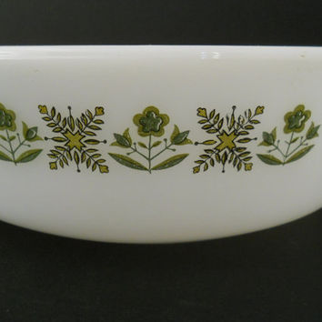 Fire-King Meadow Green Casserole Round 1 1/2 Qt Mid Century Fire King c 1960s
