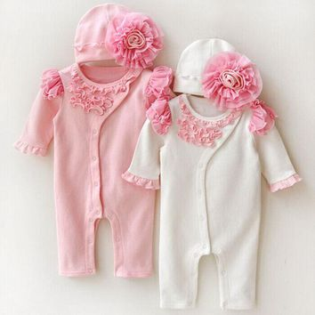 New Fashion Baby Girls Rompers Lace Flowers Decorate Bodysuits Infant Baby Clothes New born Baby Kids Clothing