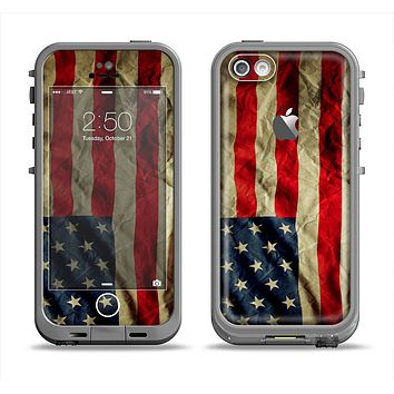 The Dark Wrinkled American Flag Apple iPhone 5c LifeProof Fre Case Skin Set