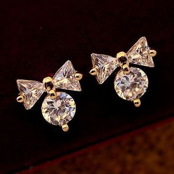 Cute Bow on Diamond with Full Rhinestone Earrings - LilyFair Jewelry