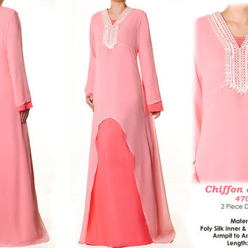 Sweet Baby Pink Lace Chiffon Abaya Islamic Long Sleeves Maxi Dress Size S/M - 4709