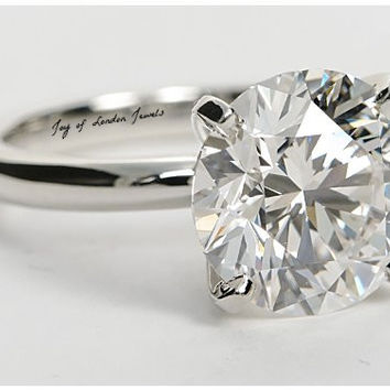 A Perfect 2.9CT Round Cut Solitaire Russian Lab Diamond Engagement Ring