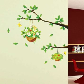 Floral Tree Branch Wall Sticker PVC Decal for Home Decor