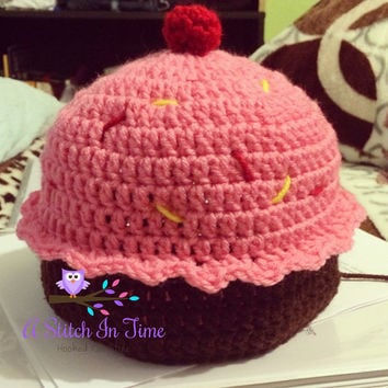 Cupcake Inspired Crochet Beanie / Hat Photo Prop For Newborn - Adult Size