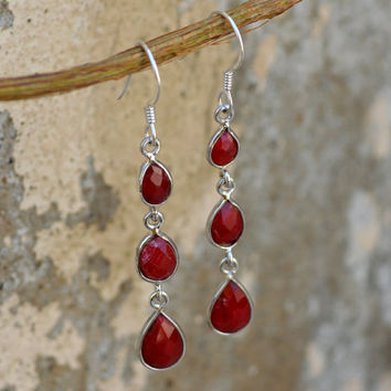 Dyed Ruby Sterling Silver Earrings,Natural Gemstone Earring,Ruby Jewelry,Indian Ruby earrings,July Birthstone Gift Silver Drop Three Earring