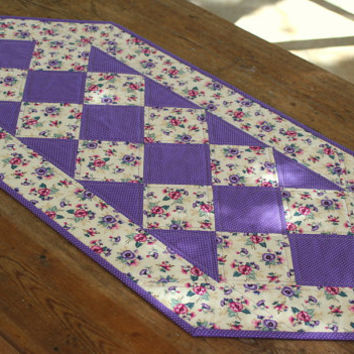 Pansies Table Runner - Quilted Table Runner - Floral Table Runner - Mother's Day Gift - Cream Purple Table Runner - Handmade Table Linens