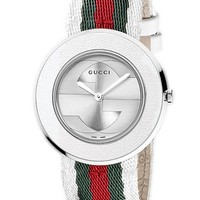 Women's Gucci 'U-Play' Round Fabric Strap Watch, 33mm