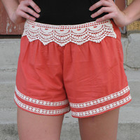 Crochet Trim Shorts {Coral}