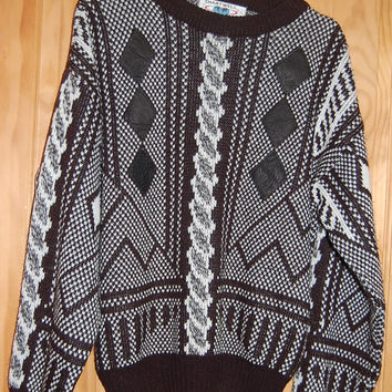 Vintage 80s Black & White Graphic Chartwell Leather Patch Cosby Sweater Mens Size XL