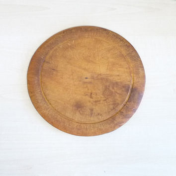 Antique Round Wooden Bread Board, Breadboard, English, Cutting or Carving Board, Handmade, London, England, Kitchenware, Serving