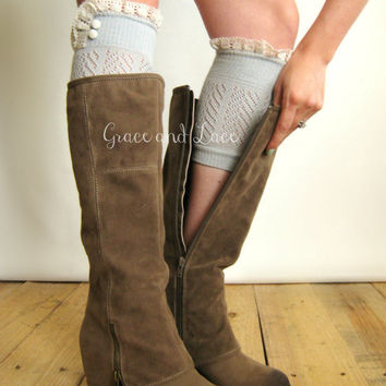 Dainty Lace Boot Cuffs 3 colors- GREY strechy knit boot topper lace trim & buttons - faux legwarmers - lace cuff - leg warmers (C10-28)
