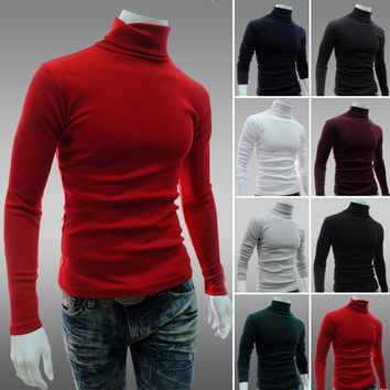 Mens Slim Casual Turtleneck Sweater