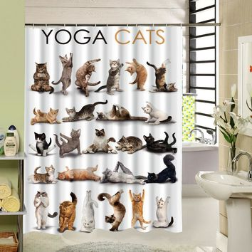 Hot Design Cat Cartoon Shower Curtain Bathroom Waterproof Polyester Fabric Animal Pattern Bath Accessory With 12 Hooks