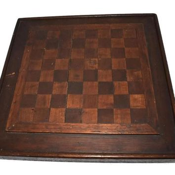 Primitive Folk Art Inlay Wood Checkerboard Antique Americana Game Board