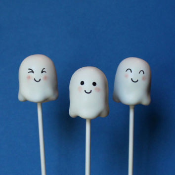12 Cute Ghost Cake Pops for Halloween, Haunted House, Autumn, Fall, October, Wedding, Birthday Party Favors, Teacher Gift