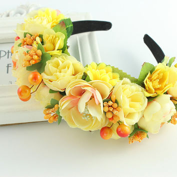Rose yellow purple wreath boho headband crown headband flower Braided Wedding Garland hair accessories women Floral Crown