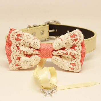 Peach Dog Bow Tie collar, Dog ring bearer, Lace