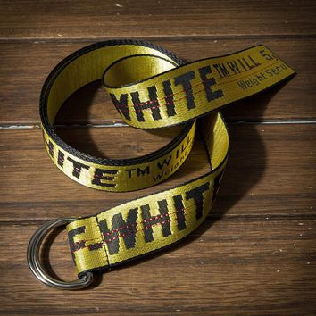 Off White new fashion letter print canvas belt women and men two color