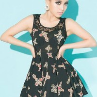Cross Print Puff Dress  S010583