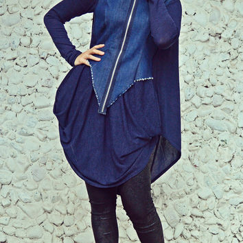 ON SALE 25% OFF Extravagant Navy Tunic / Loose Denim Top / Extravagant Acrylic and Denim Blouse Tt101
