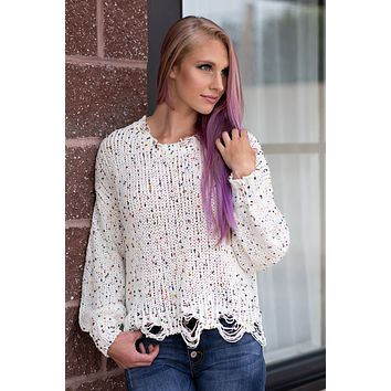 All Things Cozy Long Sleeve Distressed Edge Sweater : Cream