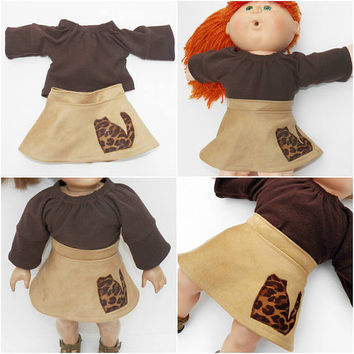 """Cabbage Patch 16"""" KIDS Doll Clothes, Kitty Cat Brown Skirt , fall, 16"""" CPKKids Doll Clothes, 15"""" Bitty Baby&18 inch doll Adorabledolldesigns"""