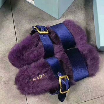 onetow One-nice? PRADA Rabbit Hair Casual Sandal Slipper Shoes Flip Purple I-AGG-CZDL