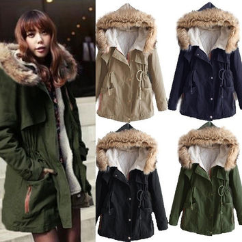 Army Green Black Khaki Navy S-XXL Warm Winter Thicken Hooded Faux Fur Long Coat Parka Jacket Outwear = 1930058372