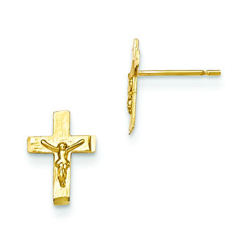 14k Madi K D/C Children's Crucifix Post Earrings GK697