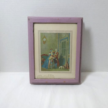 1950s Vintage Hand Made Lavender Trinket or Jewelry Box with Inside Mirror and Dividers, George & Martha Scene, Vintage Wood Treasure Box