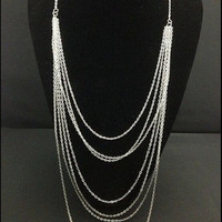 Multichain Necklance, Fashion Vintage, Multilayer Silver Tassel Chain, Long Necklace, Simple jewelry Design,