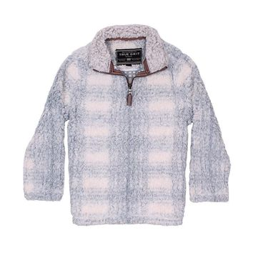 CHILD'S Big Plaid Frosty Tip 1/4 Zip Pullover in Blue by True Grit - FINAL SALE