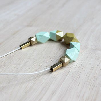 wooden geometic necklace // mint gold dipped necklace for girls, women - modern minimalist everyday jewelry