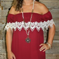 Southern Sweetie Maroon Off Shoulder Dress with Lace Trim