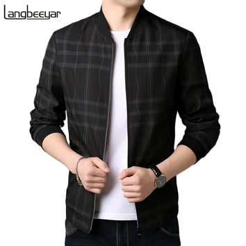 2018 New Fashion Brand Clothing Jacket Men Casual Mandarin Collar Plaid Autumn Mens Coat Outerwear Mens Jackets And Coats