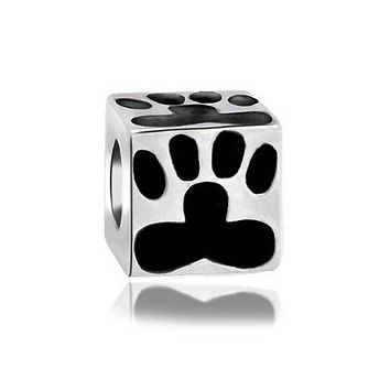 Black Cat Dog Puppy Kitten Paw Print BFF Pet Lover Charm Bead Silver