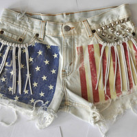 """AMERICAN FLAG Studded Cut Off Levis Denim Festival Shorts with Tassels - """"Woodstock"""" SMALL"""