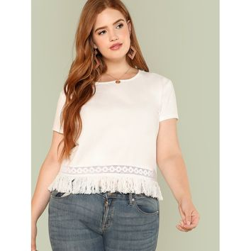 Plus Size Beige Fringe And Lace Hem T-Shirt