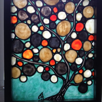 Abstract fall tree, original glass painting, stained glass look