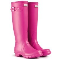 Womens Hunter Original Tall Festival Rain Snow Wellington Boots - Lipstick - 9