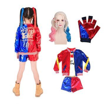 24hrs shipped Harley Quinn Cosplay Costumes Kids Girls Purim Coats Femme Jacket Chamarras De Batman Para Mujer Suit with Wig Glo