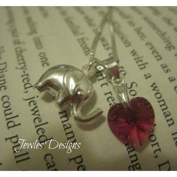 Swarovski Crystal Heart and Sterling Silver Elephant , Childrens Necklace, JewlesDesigns on Etsy
