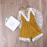 Baby Girls Yellow lace Romper